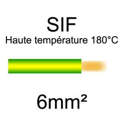 fil cuivre souple isolé silicone 6mm2 vert jaune