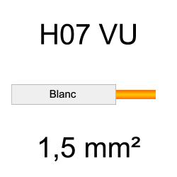 fil de câblage cuivre rigide H07VU 1.5mm² ivoire blanc