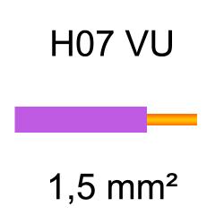 fil de câblage cuivre rigide H07VU 1.5mm² violet
