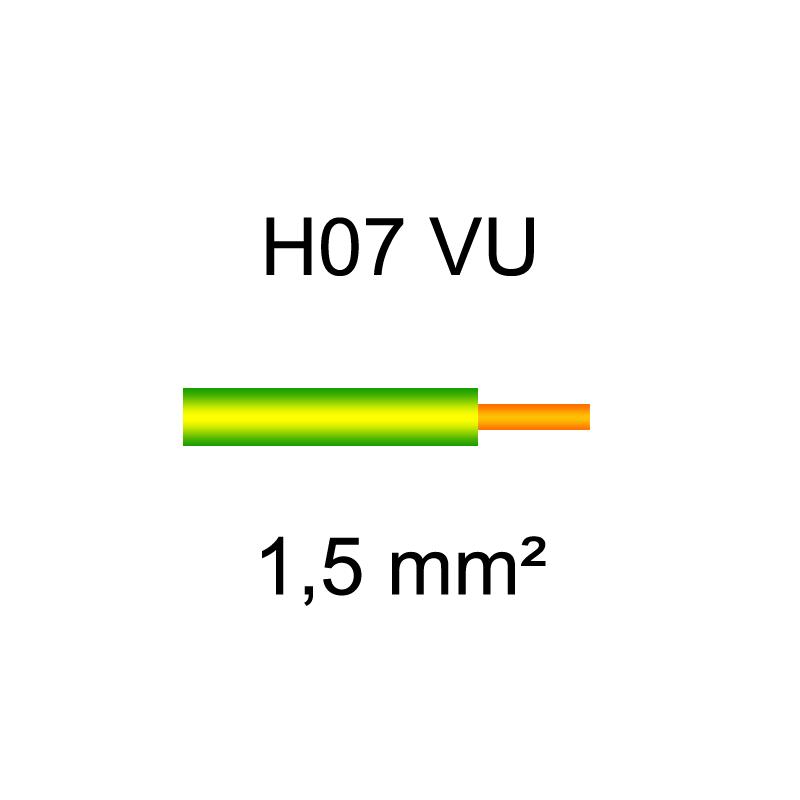 fil de câblage cuivre rigide H07VU 1.5mm² verte et jaune