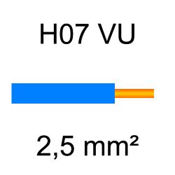 fil de câblage cuivre rigide H07VU 2.5mm² bleu