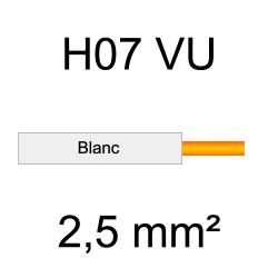 fil de câblage cuivre rigide H07VU 2.5mm² ivoire blanc