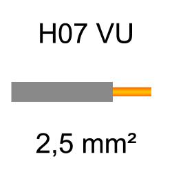 fil de câblage cuivre rigide H07VU 2.5mm² gris