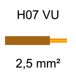 fil de câblage cuivre rigide H07VU 2.5mm² marron brun