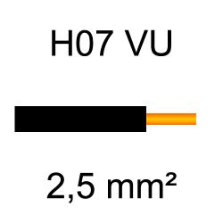 fil de câblage cuivre rigide H07VU 2.5mm² noir