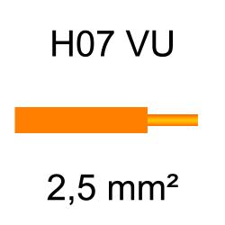 fil de câblage cuivre rigide H07VU 2.5mm² orange