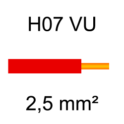 fil de câblage cuivre rigide H07VU 2.5mm² rouge
