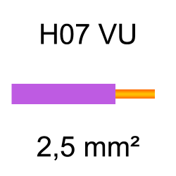 fil de câblage cuivre rigide H07VU 2.5mm² violet