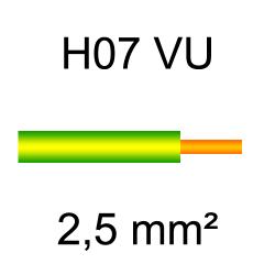 fil de câblage cuivre rigide H07VU 2.5mm² vert et jaune