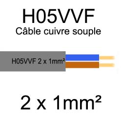 câble cuivre souple isolé PVC H05VVF 2 conducteurs 1mm²