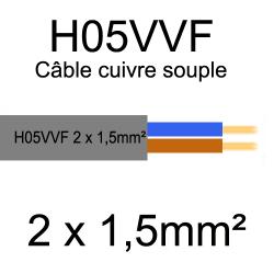 câble cuivre souple isolé PVC H05VVF 2 conducteurs 1.5mm²