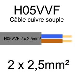 câble cuivre souple isolé PVC H05VVF 2 conducteurs 2.5mm²