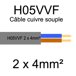 câble cuivre souple isolé PVC H05VVF 2 conducteurs 4mm²