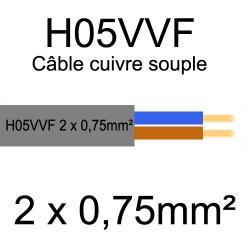 câble cuivre souple isolé PVC H05VVF 2 conducteurs 0.75mm²