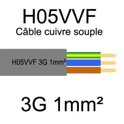 câble cuivre souple isolé PVC H05VVF 3 conducteurs 1mm²