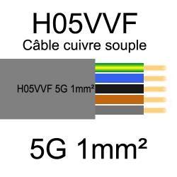 câble cuivre souple isolé PVC H05VVF 5 conducteurs 1mm²