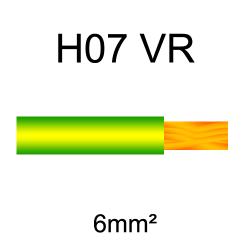 fil de câblage cuivre rigide H07VU 6mm² vert et jaune