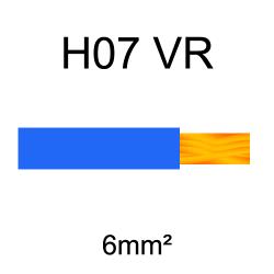 fil de câblage cuivre rigide H07VU 6mm² bleu