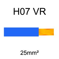 fil de câblage cuivre rigide H07VU 25mm² bleu