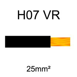 fil de câblage cuivre rigide H07VU 25mm² noir