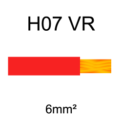 fil de câblage cuivre rigide H07VU 6mm² rouge