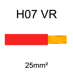 fil de câblage cuivre rigide H07VU 25mm² rouge
