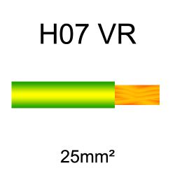 fil de câblage cuivre rigide H07VU 25mm² vert et jaune