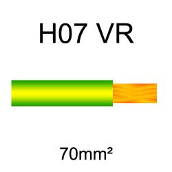 fil de câblage cuivre rigide H07VU 70mm² vert et jaune