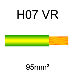 fil de câblage cuivre rigide H07VU 95mm² vert et jaune