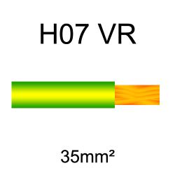 fil de câblage cuivre rigide H07VU 35mm² vert et jaune