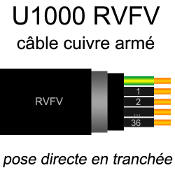 Câble électrique U1000 RVFV...