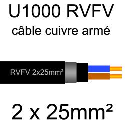 câble électrique armé renforcé âme cuivre U1000 RVFV 2 conducteurs section 25mm²