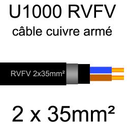 câble électrique armé renforcé âme cuivre U1000 RVFV 2 conducteurs section 35mm²