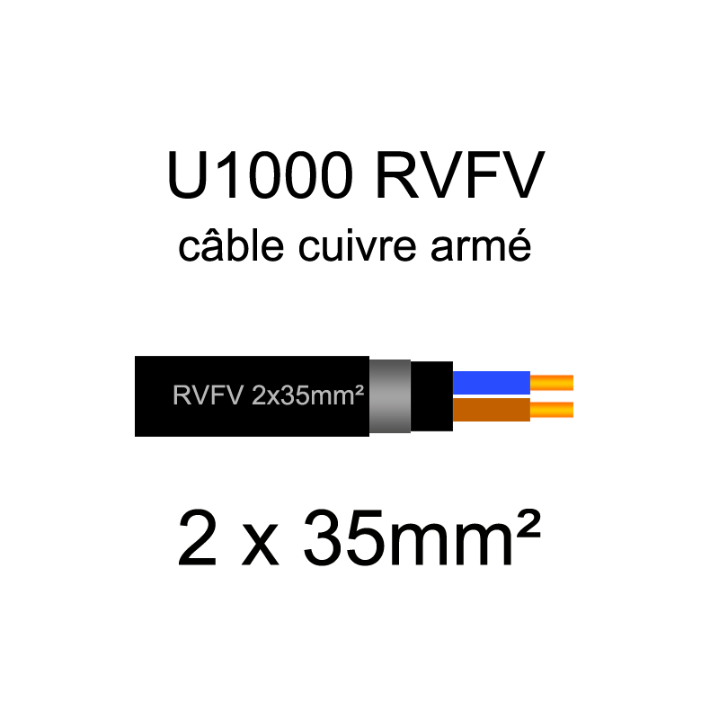 Câble électrique U1000 RVFV cuivre armé | 1.5mm² à 95mm²