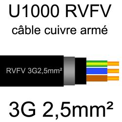 câble électrique armé renforcé âme cuivre U1000 RVFV 3 conducteurs section 2.5mm²