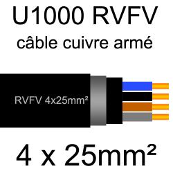 câble électrique armé renforcé âme cuivre U1000 RVFV 4 conducteurs section 25mm² sans terre