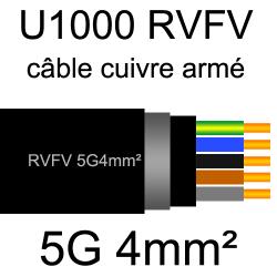 câble électrique armé renforcé âme cuivre U1000 RVFV 5 conducteurs section 4mm²