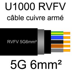 câble électrique armé renforcé âme cuivre U1000 RVFV 5 conducteurs section 6mm²