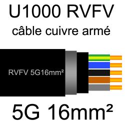câble électrique armé renforcé âme cuivre U1000 RVFV 5 conducteurs section 16mm²