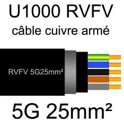 câble électrique armé renforcé âme cuivre U1000 RVFV 5 conducteurs section 25mm²