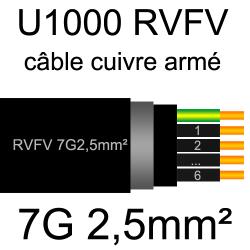 câble électrique armé renforcé âme cuivre U1000 RVFV 7 conducteurs section 2.5mm²