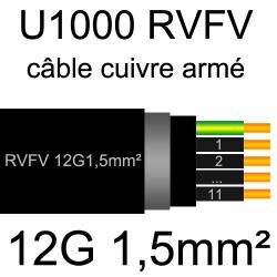 câble électrique armé renforcé âme cuivre U1000 RVFV 12 conducteurs section 1.5mm²
