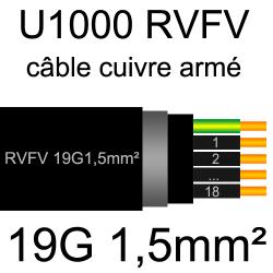 câble électrique armé renforcé âme cuivre U1000 RVFV 19 conducteurs section 1.5mm²