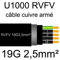 câble électrique armé renforcé âme cuivre U1000 RVFV 19 conducteurs section 2.5mm²