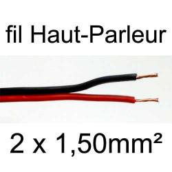 Câble hifi pour haut parleur rouge et noir 2 conducteurs 1.5mm²