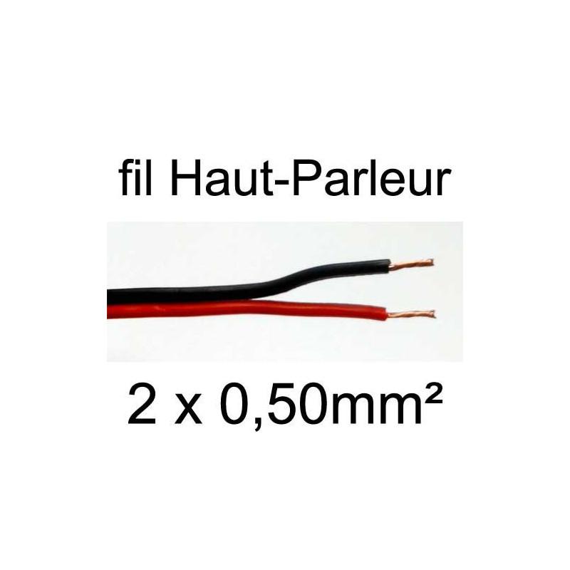 Câble hifi pour haut parleur rouge et noir 2 conducteurs 0.50mm²