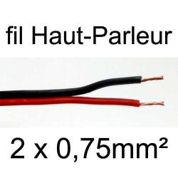 Câble hifi pour haut parleur rouge et noir 2 conducteurs 0.75mm²