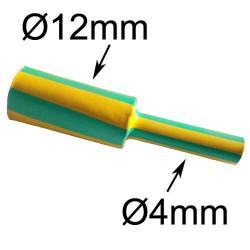 gaine thermorétractable diamètre 12mm verte et jaune
