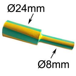 gaine thermorétractable diamètre 24mm verte et jaune