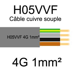 câble cuivre souple isolé PVC H05VVF 4 conducteurs 1mm²